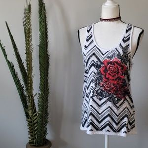 Almost Famous sequin tank with floral print